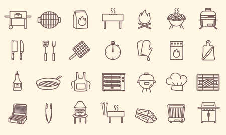 Set of grilling icons