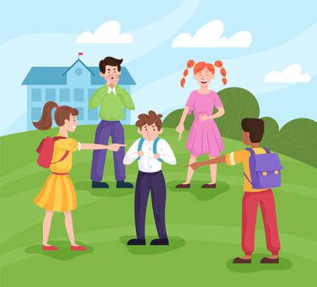 Sad little boy being bullied by his schoolmates