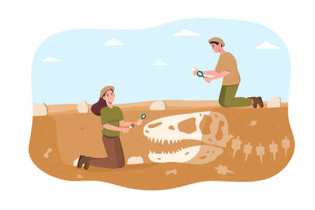 Male and female archaeologist discovering dinosaurs remains under ground