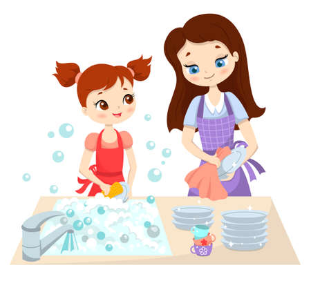 Mom and little daughter wash the dishes together