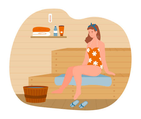 Young female character is relaxing in hot sauna bath.