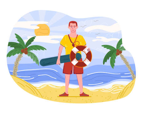 Male lifeguard is standing on the beach with a life vest