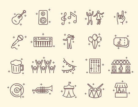 Collection of outline music festival related icons Ilustração
