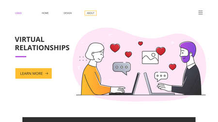 Online dating application abstract concept