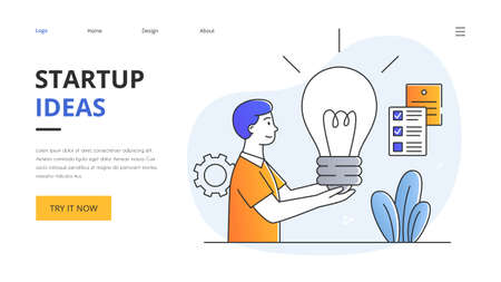 Startup concept with young man with light bulb