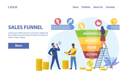 Sales funnel abstract vector concept