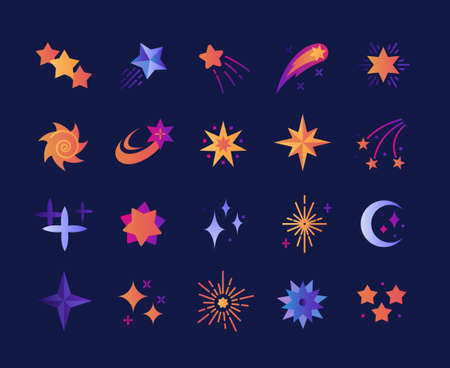 Collection of stars of various shapes