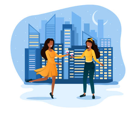 Two dancing woman with curly hair in yellow dress on the background of the night city Vecteurs