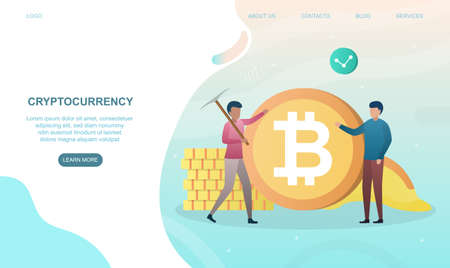 Two male characters are standing near huge bitcoin Ilustração