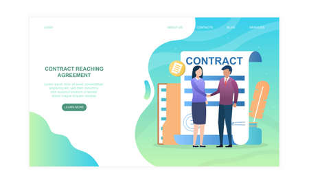 Male and female characters are shaking hands after contract reaching agreement
