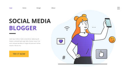Website template for a female Social Media Blogger with copyspace