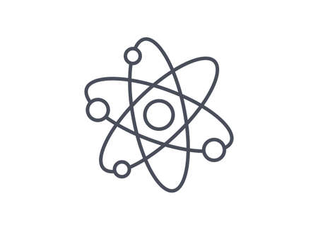 Physics icon showing atomic structure with nucleus and electrons