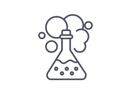 Chemistry icon showing a chemical reaction in an erlenmeyer flask
