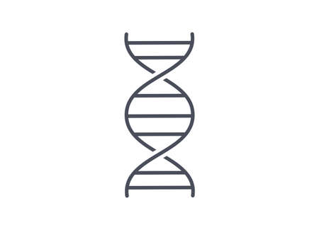 Simple line drawing of DNA spiral molecule on white background