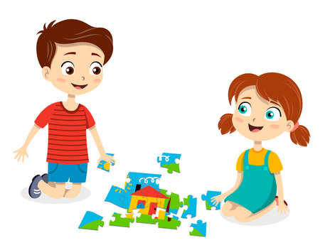 Young boy and girl having fun doing a jigsaw puzzle 向量圖像