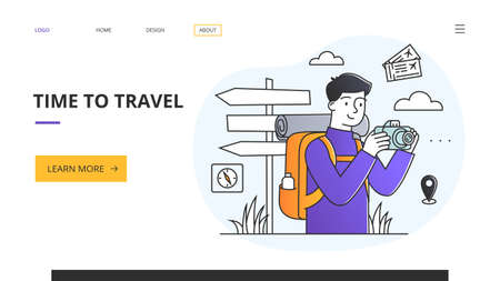 Time to Travel website template with tourist with camera