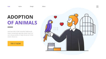 Adoption of shelter animals concept with man with parrot