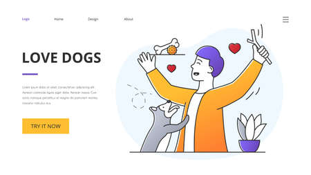 Website template design for Love Dogs with man and pet