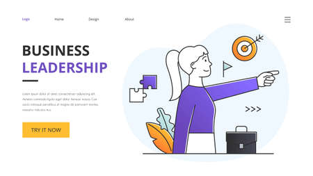 Leadership concept with ambitious successful businesswoman pointing ahead