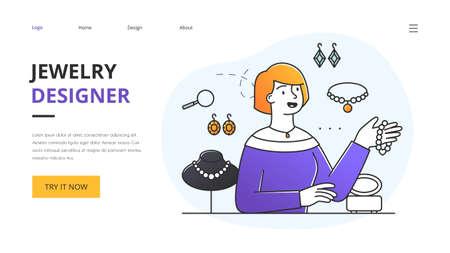 Website design for a landing page for a jewellery designer 向量圖像