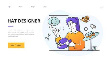 Hatter or hat designer website landing page template 向量圖像
