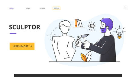 Website template for a landing page for a sculptor