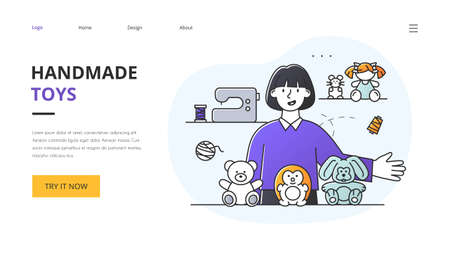 Small business concept with maker of plush stuffed kids toys 向量圖像
