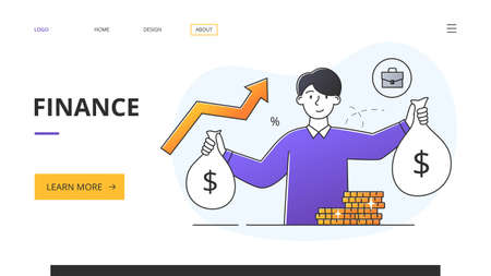 Finance, Money and Wealth concept with businessman and gold coins