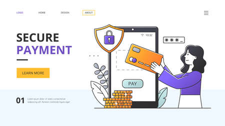 Secure Payment concept with woman making payment online with a card