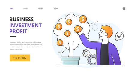 Business success and profit concept with money tree