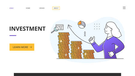 Investment success and wealth concept with gold coins 向量圖像