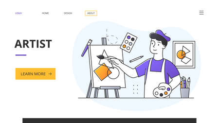 Artist website landing page with man painting on an easel