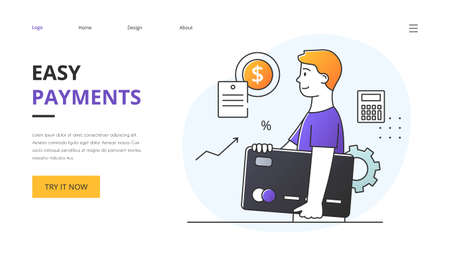 Easy Online Payments concept with young man carrying a smartphone