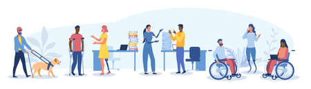 Large set of disabled people in the workplace Vector Illustration