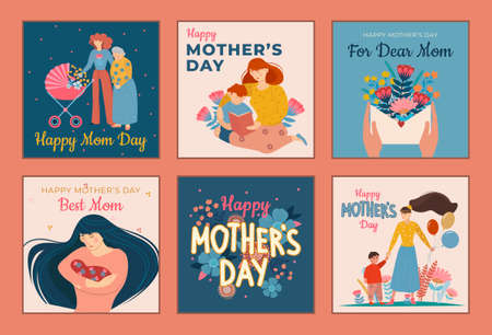 Six designs for Mothers Day greeting cards with text