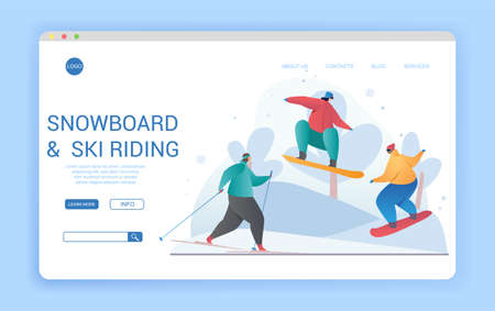 Website design template for snowboarding and skiing in winter 向量圖像