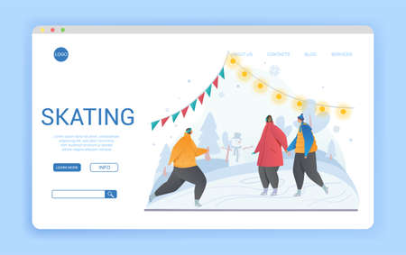 Website landing page template for winter skating