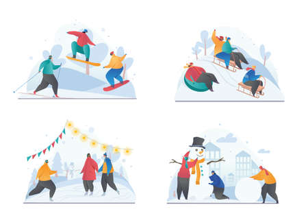 Set of four sketches showing winter recreational activities 向量圖像