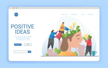 Positive ideas concept with garden plants for a brain