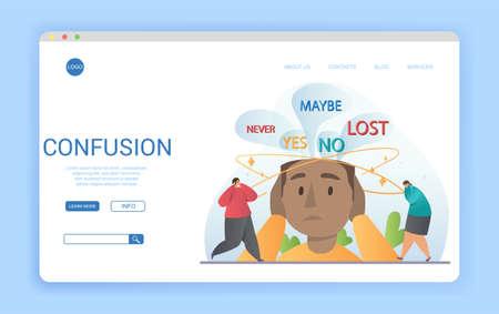 Website template design conceptual of Confusion with copyspace Ilustração