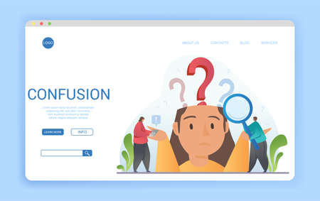 Confused woman showing her ignorance with question marks Ilustração