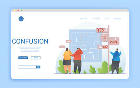 Confusion concept in a website landing page design