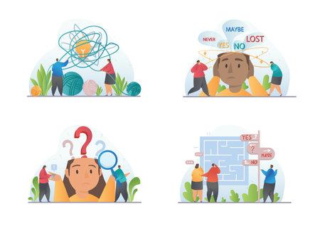 Four concept designs of people showing confusion Ilustração