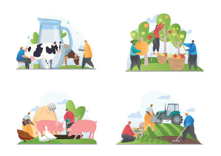 Set of four scenes showing different farming activities