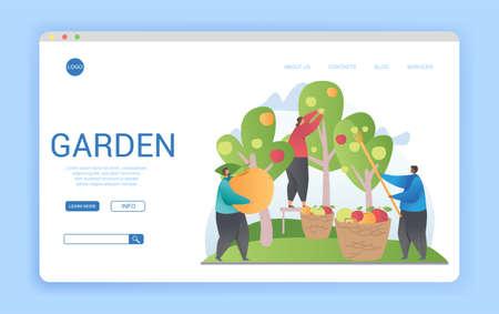 Website template design for a garden or farm orchard 向量圖像