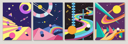 Bright colorful abstract designs with planets and winding road