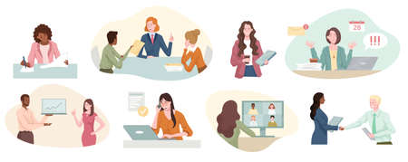Eight different scenes showing a successful businesswoman at work
