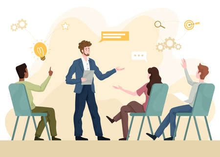 Skilled or motivational coach lecturing to students or businesspeople