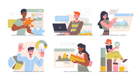 Six different business scenes of workers in the office 向量圖像