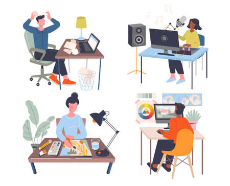 Set of four designs depicting a creative workplace